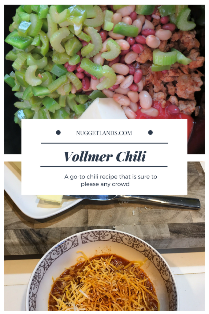 Easy chili recipe for your crockpot. Not spicy, perfect for holidays and game days. #chili