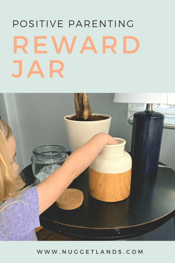 Implementing this positive parenting strategy can change your relationship with your toddler, preschooler or even teen. The reward jar technique is a positive reinforcement solution that teaches consequences without timeouts. Read more parenting tips and resources at Nuggetlands. #parenting #positiveparenting #toddlers #preschool #tips #discipline #momlife