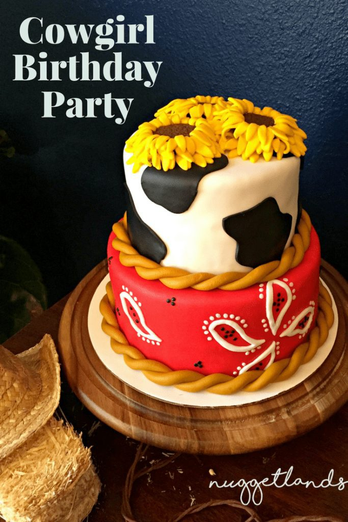 A Cowgirl Birthday party with a western theme that would be perfect for a toddler or teen. See all our ideas for food, centerpieces, cake, birthday girl outfit, craft station, custom cookie favors that isn't just your standard pink and gold. Perfect for girls but the red/yellow/blue color scheme would be perfect for a boy. Oh and we had real horses, pony rides for the win. #birthdayparty #western #cowboy #cowgirl #cake #crafts #birthday #outfits""