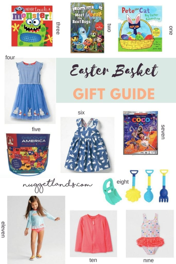 Easter Basket gift guide for kids with ideas for boys and girls. Books, movies, toys, puzzles, swimsuits and Easter outfits perfect for the toddler or preschooler in your life. #gifts #easter #giftguide #books #outfits #kidsfashion #toys #musthave #spring #summer