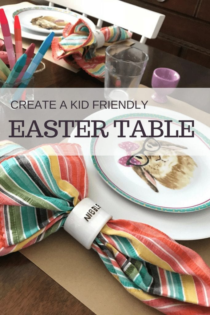 Create a kid friendly Easter table scape that is colorful and whimsical. DIY centerpiece craft of Peeps with place settings and other elements from Pier One and Target. Perfectly fun and festive for kids and adults. #easter #spring #tablesetting #DIY #centerpiece #kidfriendly