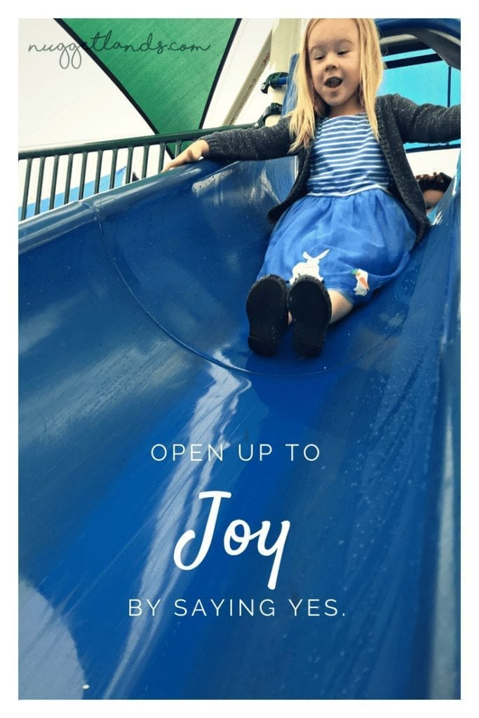Parenting isn't easy and too often I found myself saying no to new adventures. Saying yes to my preschooler's request for breakfast at the playground gave us the chance to make memories and brought us both unexpected joy. #parenting #preschooler #motherhood #sayyes #joy #SAHM #playground #breakfast