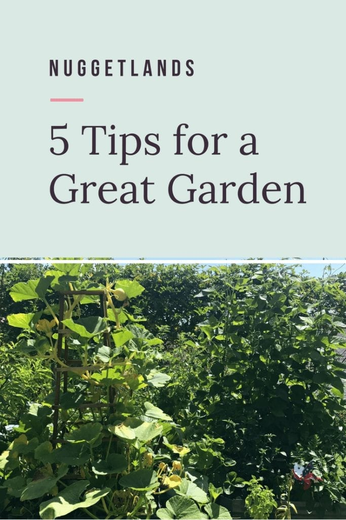 5 garden tips and tricks for great vegetables for beginner and advanced gardeners. Organic solutions and pest control to common landscaping tricks. Ideas for spring container and raised bed gardens and how to make your soil rich. Do you know when you should water? Click to find out. #garden #vegtables #gardening #DIY #landscape #Raisedbeds #organic
