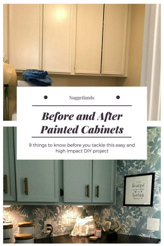 Before and after painted cabinet transformation. This easy DIY project, with or without sanding, can take old drap cabinets into a high impact statement. Ideas for your kitchen, bathroom or laundry room. 9 things to know when you are painting cabinets with with a sprayer or with brushes. #beforeandafter #DIY #kitchen #bathroom #laundryroom #colors #interiordesign #farmhouse