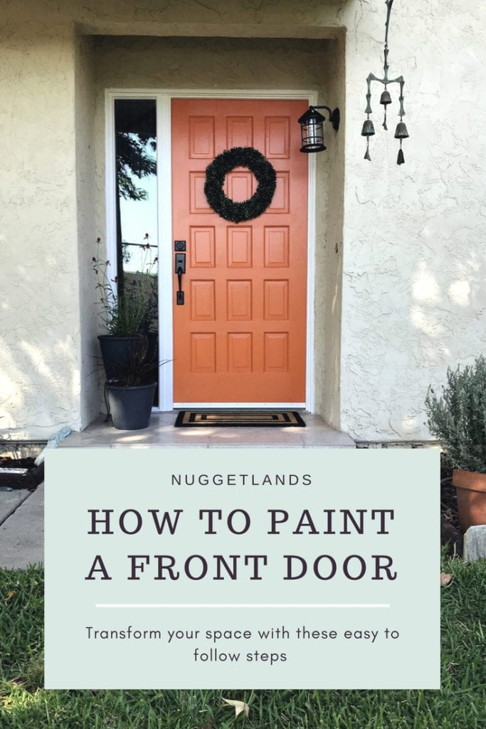Tips on how to paint a front door even with a sidelight or windows. Ideas to make this DIY project easier, especially if you have kids or dogs. Painting a wood door with a bold color will transform your entrance. #DIY #frontdoor #homeimprovement #paint