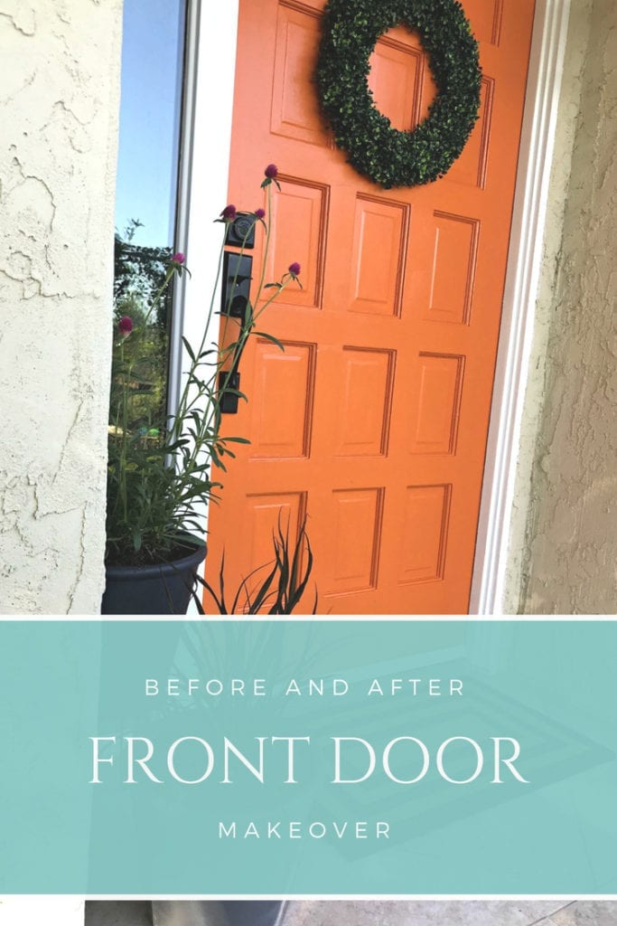 Before and after front door transformation. This easy DIY paint project instantly changes your curb appeal. This bold orange color is feng shui approved and makes this entrance from old and ugly to bright and modern. Take an outdated exterior door and paint the door and moulding a color scheme that flows with your home, whether that is brick or stucco.